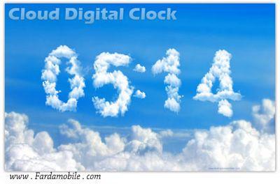 دانلود اسکرین سیور ساعت به صورت ابری Cloud Digital Clock 07