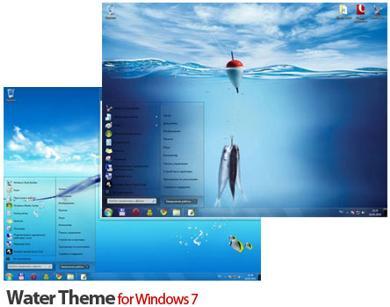 تم زیبای ماهی و آب برای ویندوز سون – Water Theme for Windows 7