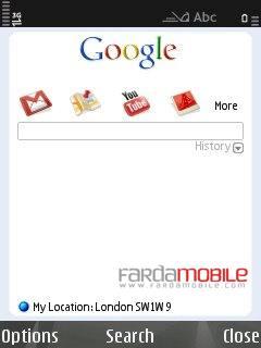 جستجو گر گوگل در نوکیا سری ۶۰ ویرایش ۳ با GoogleSearch v2.1.12